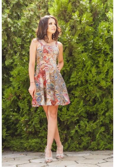 Разкроена къса рокля с принт в розово Emma