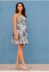 Разкроена лятна рокля с принт в синьо Emma