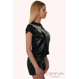 Тениска с къс ръкав от паети Sequin Lace